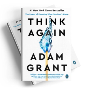 The book cover Think Again by Adam Grant is shown